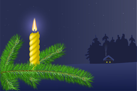 stylization:  A branch of a tree  with a candle on a background of a winter evening landscape.