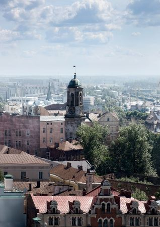 attics: The city of Vyborg from height of a tower.