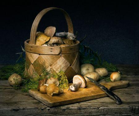 mushroom picking: Still-life with mushrooms and spices