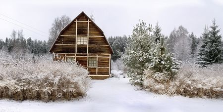 Panorama of a small house in a winter wood Stock Photo - 4232357