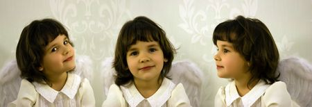 threefold: Threefold portrait of the little girl with wings