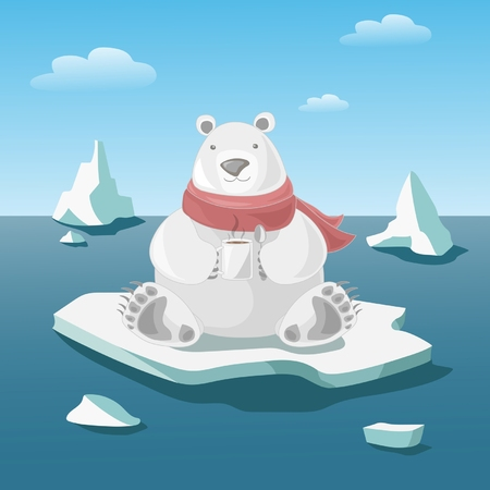 Polar bear on floe holds a mug with hot coffee Vector