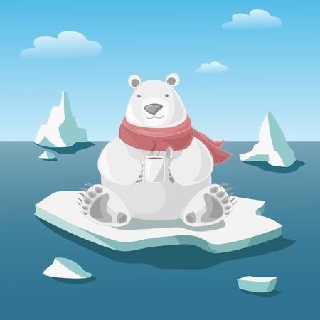 floe: Polar bear on floe holds a mug with hot coffee Illustration
