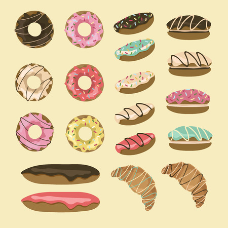 eclair: Set of 19 pastry. Donuts, eclairs, croissants, macaroons