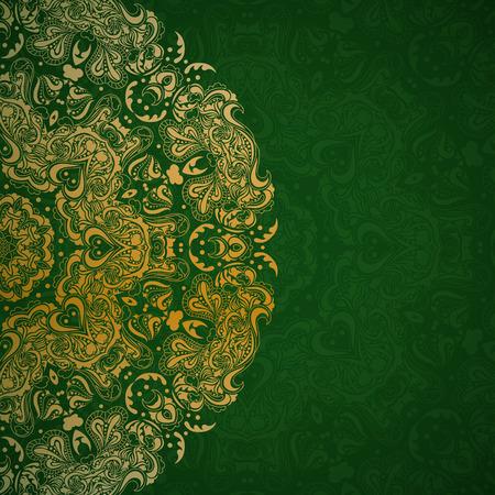 abstrakt gr�n: Gold Mandala in ethnischen Stil auf gr�nem Hintergrund