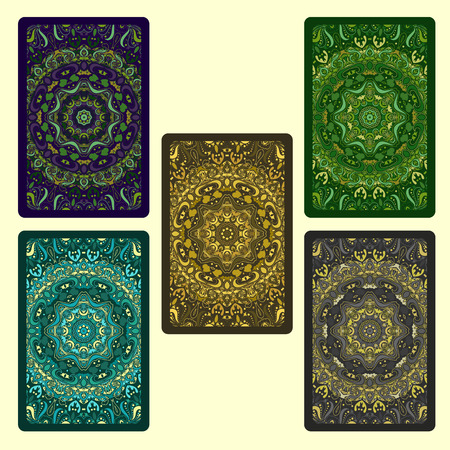 Set of  five bright playing cards. Vector illustration.