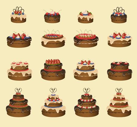 sixteen: Set of sixteen cakes. Vector illustration Illustration