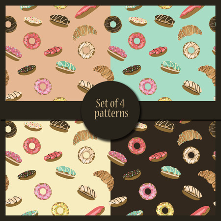 eclair: Set of four pastry. Donuts, eclairs, croissants, macaroons. Vector illustrations
