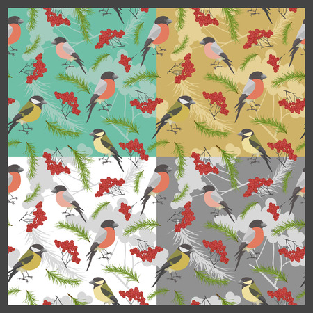 ashberry: Set of four patterns with birds. Vector illustration