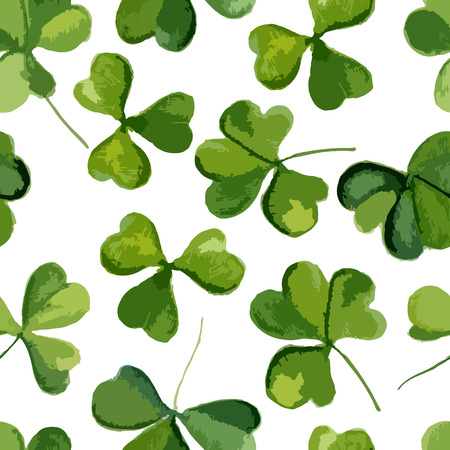 erin: Clover pattern on a white background. Watercolor. Vector illustration