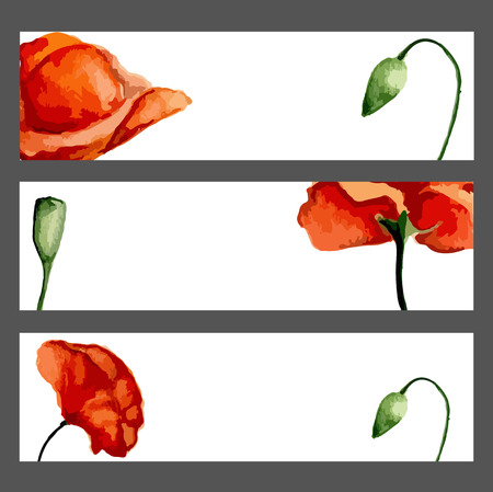 Banners set with blossom poppies. Watercolor. Vector illustration