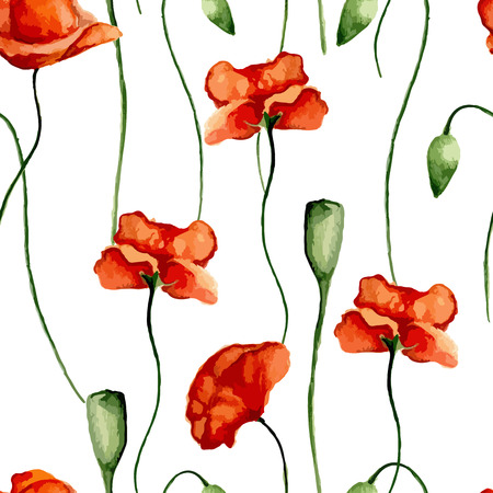 wispy: Floral pattern with poppies. Watercolor. Vector illustration