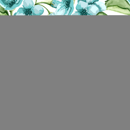 Blossom blue flowers on a white background. Vector illustration