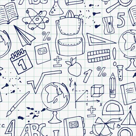 calendario escolar: Dibujo patrón de la mano sin fisuras de los útiles escolares en una hoja de cuaderno