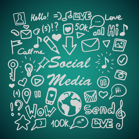 communication icons: Set of social media elements. Hand drawing doodle. Vector illustration