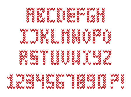 old english letter alphabet: English alphabet. Knitting style. Illustration