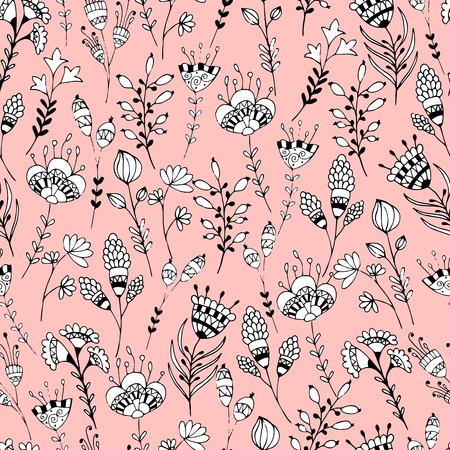 flower petals: Seamless black and white floral pattern on a pink background. Hand drawing doodle. Illustration
