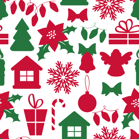 Seamless Christmas pattern with decorative elements.