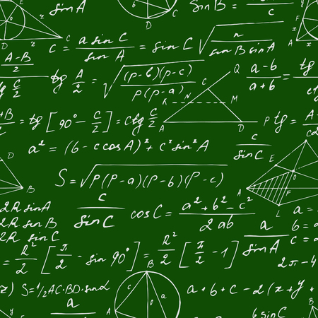 Seamless geometric pattern with trigonometry formulas on a blackboard. Illustration
