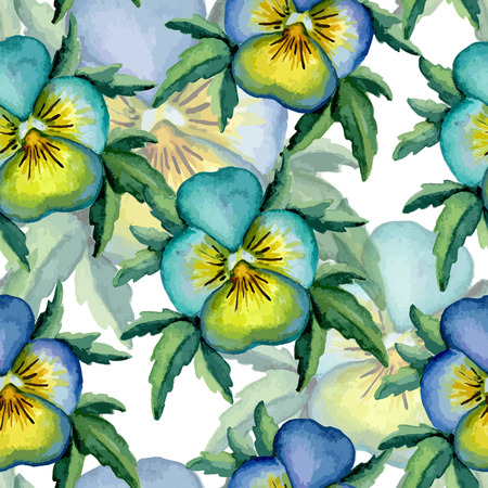 ilustration and painting: Blue pansy pattern. Watercolor. Vector illustration
