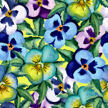 ilustration and painting: Colored pansy. Floral pattern. Watercolor. Vector illustration