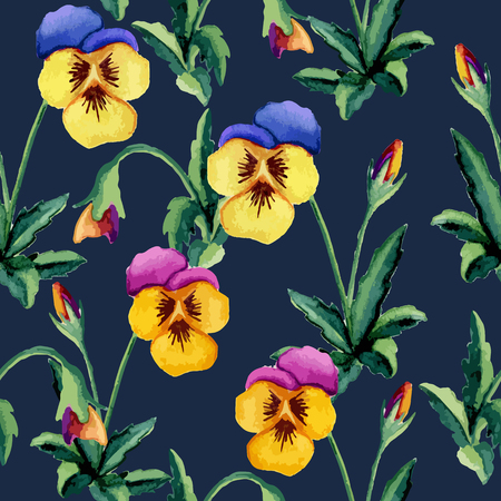 Dark blue pansy pattern. Watercolor. Vector illustration Иллюстрация