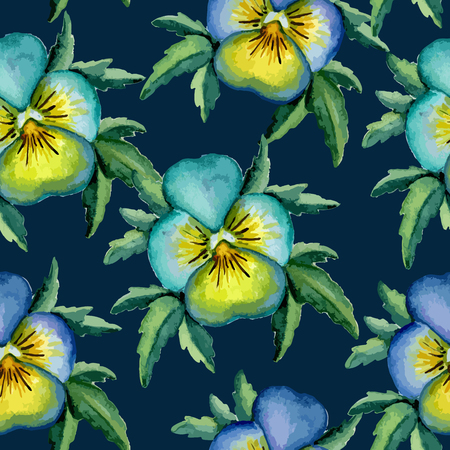 Pansy watercolor pattern. Vector illustration