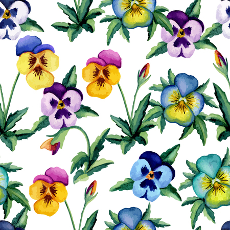 Pansy white watercolor pattern. Vector illustration