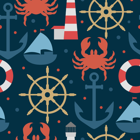 Sea blue pattern with anchors, wheels, crabs, ships.