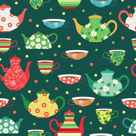 Seamless pattern with colored tea cups and bright teapots.