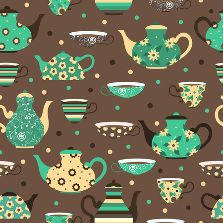Seamless pattern with tea cups and teapots.