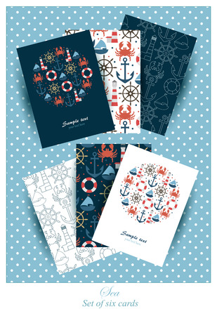 Set of six cards or invitations with sea design.