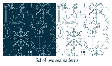 Set of two sea patterns Иллюстрация