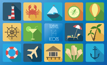 Set of fourteen travel icons. Иллюстрация