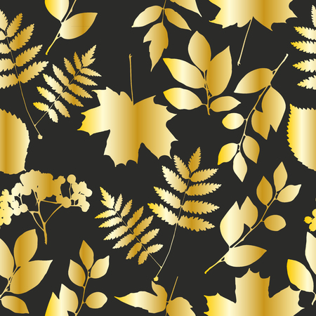 Seamless gold leaf pattern. Vector illustration