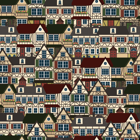 Seamless pattern with german houses.