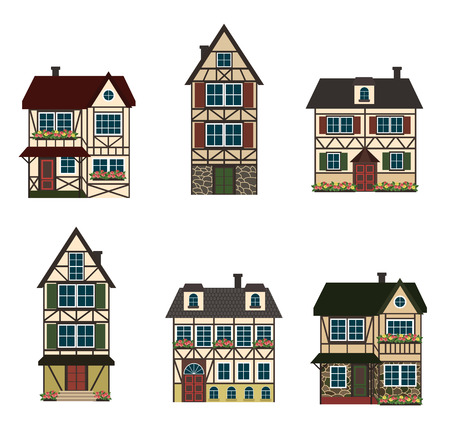 Set of six german houses.