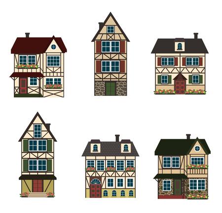 houses: Set of six german houses.