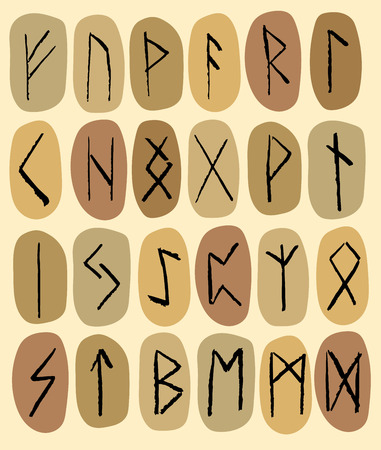 Set of stones with runes in pastel tones. Vector illustration
