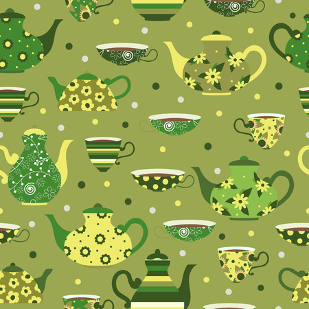 Seamless green pattern with tea cups and teapots Иллюстрация