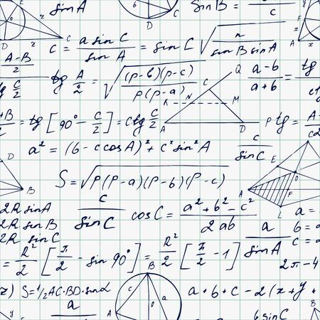 teorema: Patr�n geom�trico sin fisuras con las f�rmulas de trigonometr�a en una hoja de cuaderno. Dibujado a mano. Ilustraci�n vectorial Vectores