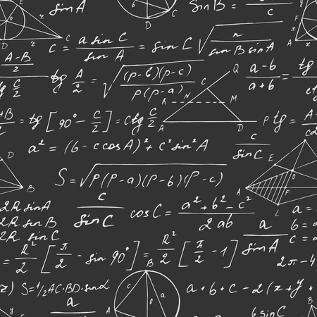 Seamless geometric pattern with trigonometry formulas on a blackboard. Hand drawn. Vector illustration