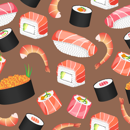 Seamless brown pattern with japanese food. Sushi bar. Vector illustration