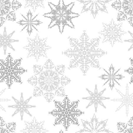 schneeflocke: Nahtloses Muster mit Schneeflocken. Vektor-Illustration