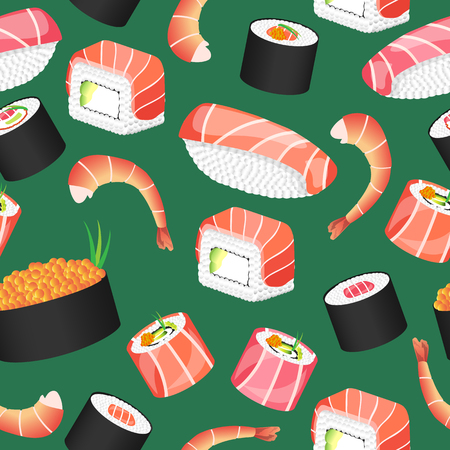 Seamless green pattern with japanese food. Sushi bar. Vector illustration