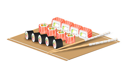 Set of japanese food with chopsticks and wooden rug. Sushi set. Vector illustration