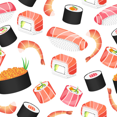 Seamless pattern with japanese food. Sushi bar. Vector illustration