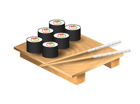 Set of japanese food with chopsticks and wooden tray. Sushi set with tuna. Vector illustration Иллюстрация