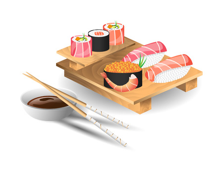 sushi: Set of japanese food with chopsticks and wooden tray. Sushi set. Vector illustration