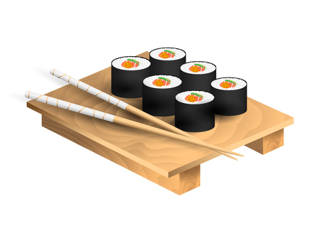 Set of japanese food with chopsticks and wooden tray. Sushi set with salmon and caviar. Vector illustration